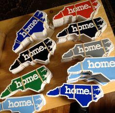 North Carolina Home.  Vinyl Stickers  3 Sticker Pack. $9.00, via Etsy.