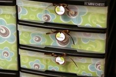 Think i have something similar to this, but just in case. scrapbook paper to pretty up plastic drawers DO THIS Do It Yourself Organization, Craft Organization, Craft Storage, Classroom Organization, Scrapbook Organization, Storage Ideas, Fabric Storage, Classroom Management, Kitchen Storage
