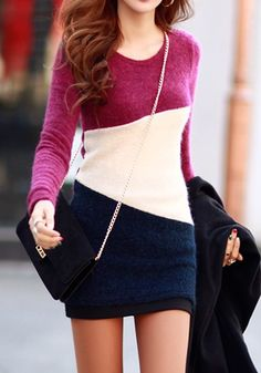 Purple Color Block Print Knit Sweet Mini Dress