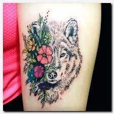 Afbeeldingsresultaat voor dog and flowers tattoo