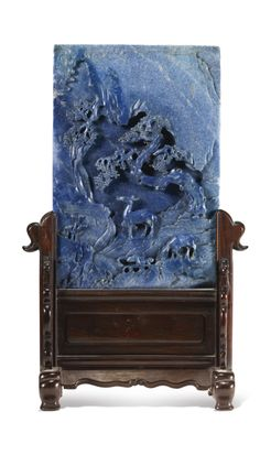 A carved lapis lazuli 'Deer' table screen, Qing dynasty