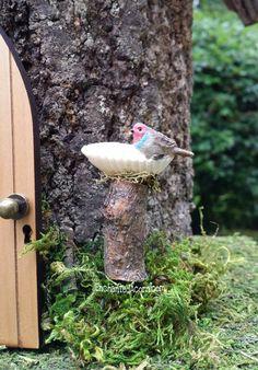 Miniature Fairy Garden Birdbath with Grey Bird - Miniature Fairy Garden Furniture Accessory
