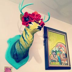Tiger Lilly taxidermy by Hope Perkins. I'd like to make a fake deer bust like this.
