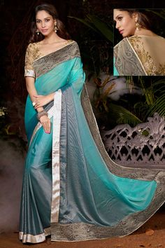 Sky blue with grey, grey net saree with beige georgette blouse.  Embellished with embroidered and zari.  Saree comes with round neck blouse.  It is perfect for festival wear, party wear and wedding wear.  Andaaz Fashion is the most popular designer wear online ethnic shop brands  http://www.andaazfashion.us/womens/sarees/occasion/bridal-wear-saree