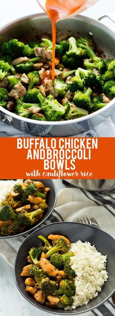 This Buffalo Chicken and Broccoli Bowl is fast, easy and flavorful. Chicken and broccoli in a buffalo sauce, served over cauliflower rice makes a gluten free, low carb, high protein, paleo and whole 30 friendly meal!