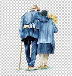 Mutual Support Of The Old Couple Back PNG - back to , cartoon couple, costume design, couple, elderly Couples Walking, Old Couples, Walk Together, Wedding Silhouette, Latest Colour, Couple Cartoon, Us Images, Costume Design, Color Trends