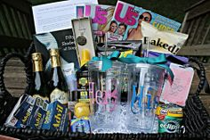 Honeymoon basket from the bridesmaids! Such a smart idea!