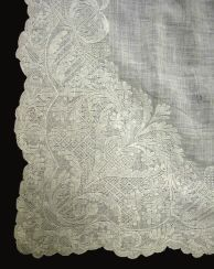 Apron. 1740-1775. England or Europe. Cotton embroidered with linen, later waistband # 1952-68