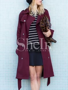 Wine Red Long Sleeve Lapel Trench Coat 22.99