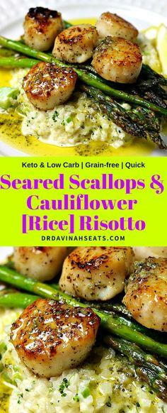 Scallops & Cauliflower Rice Risotto A quick, keto-friendly and grain-free recipe for seared scallops and parmesan cauliflower risotto.A quick, keto-friendly and grain-free recipe for seared scallops and parmesan cauliflower risotto. Cauliflower Rice Risotto, Parmesan Cauliflower, Cauliflower Recipes, Parmesan Risotto, Creamy Cauliflower, Parmesan Crusted, Crusted Chicken, Seafood Recipes, Keto Recipes