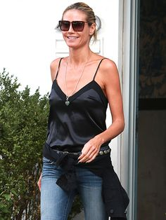Heidi Klum made a badass shady statement in angular, geometric-inspired square sunnies while out 'n' about in the Big Apple!