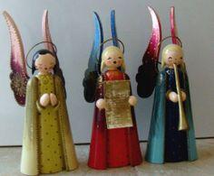 Erzgebirge Germany Wooden Christmas Angels