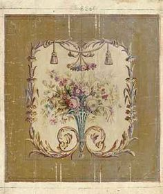 Six Aubusson cartoons for chair backs and wall hangings of spring flowers within acanthus and floral borders (one illustrated)