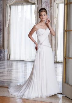 #Cute Sweetheart Neckline Beads Working Chiffon wedding dress at Canada site - Ca-Dresses.com
