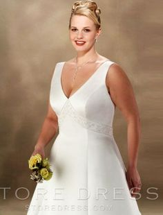 A-line V-neck Chapel Train Sleeveless Satin Plus Size Wedding Dress For Brides at Storedress.com