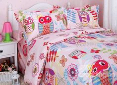 Owl and Flower Print 3-Piece Cotton Duvet Cover Sets #bedding #bedroom #girls