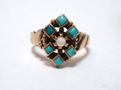 Victorian Turquoise and Opal Ring 10k rose by LuceesTreasureChest, $178.00