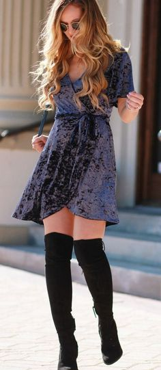 Crushed Velvet Dress + Over Knee Boots | fall fashion | fall fashion trends