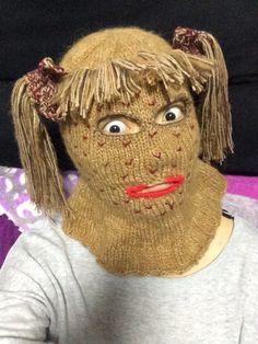 My Aunt Handmade knit weave winter woolen yarn mask with plait hat cap for Halloween