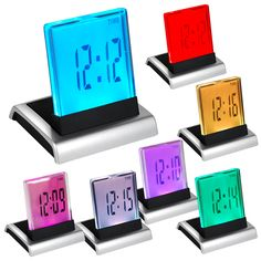 Home Decor Hearty Changing Led Digital Alarm Clock Pyramid Colorful Clock Calendar Thermometer Time Home Decoration 7 Colors Table Desktop Clocks Comfortable Feel Home & Garden