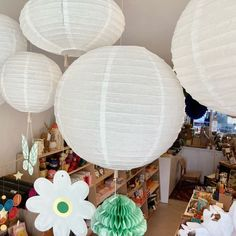 White paper lanterns White Paper Lanterns, Hanging Artwork, Gift Store, Hanging Lights, Stationery, Creative, Color, Home Decor, Decoration Home
