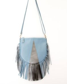 Silver and blue bag/color block bag / Genuine leather crossbody with fringe and two pockets inside / leather pursue / woman leather bag