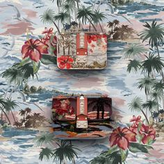 """""""Welcome to paradise. Palm trees, sunsets and colorful hibiscus are waiting for you in the new Hawaiian Couture Capsule Collection. #InStoresNow #Lockbag"""""""