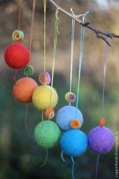 Felt rainbow balls