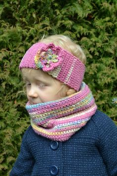 Crochet headband & neck warmer for girls 3/5 years,  woolen headband kids, woolen neck warmer, pink headband, spring neck warmer by Pikotka on Etsy