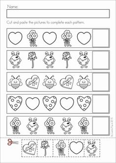 Kindergarten Valentine's Day Math and Literacy Worksheets & Activities No Prep. A page from the unit: patterns cut and paste Literacy Worksheets, Math Literacy, Preschool Math, Kindergarten Math, Valentine Activities, Preschool Activities, Pattern Worksheet, Cut And Paste, Classroom Fun