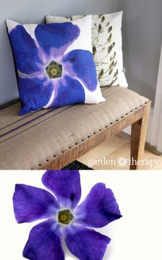 Take the garden indoors with these flower photography pillows. Periwinkle printed on soft cotton linen blend fabric and made into throw pillows! Fabric Painting, Fabric Art, Fabric Crafts, Sewing Crafts, Flower Pillow, Textiles, Decorating Small Spaces, House Colors, Fabric Flowers