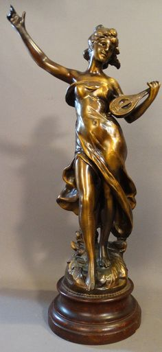 Antique FRENCH ART NOUVEAU Moreau LADY & LUTE Guitar STATUE Music Room SCULPTURE | eBay