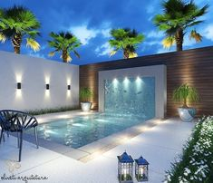 trending small pool designs for your backyard page 3 Modern Pool House, Pool House Decor, Modern Pools, Small Swimming Pools, Swimming Pools Backyard, Swimming Pool Designs, Swimming Pool Lights, Lap Pools, Indoor Pools
