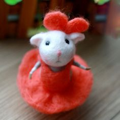 Needle Felted Felting Wool Animals Cute Red Mouse
