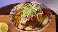 Crispy beef with stir fried noodles