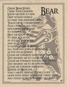 Bear Totem Prayer BOS Book of Shadows Page Wiccan Witchcraft Magick CHC in Collectibles, Religion & Spirituality, Wicca & Paganism