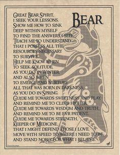 Bear Prayer Poster Animal Spirit Guide Art Print Celtic Wicca Native American | eBay