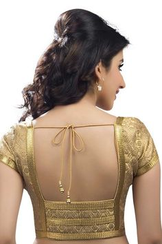 Light #gold festive wear #banarasi self embossed blouse with cap sleeves -BL698