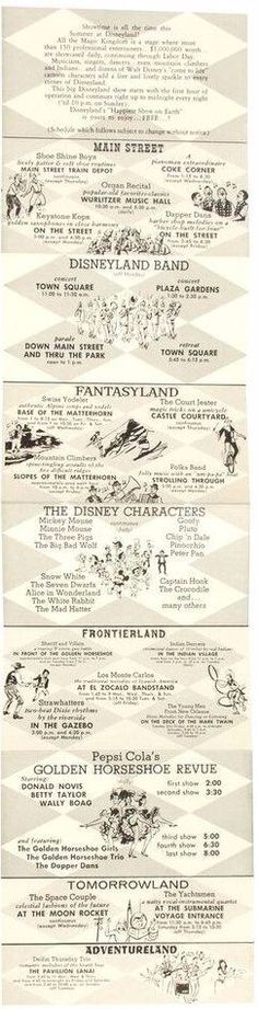 "Disneyland, 1960s - A long accordion-style multi-folded gate flyer promoting many of the lands and attractions of the park as well as special events such as ""Date Nite"" and ""The Big Night Time Show""."