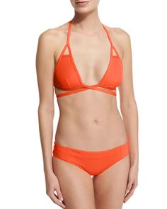 Vitamin A Serra Solid Keyhole Wrap Swim Top