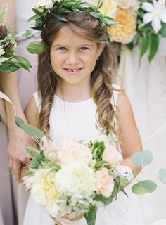 How sweet is she with her front tooth missing! http://www.stylemepretty.com/2015/01/30/naturally-elegant-midwestern-wedding/ | Photography: Brett Heidebrecht - http://brettheidebrecht.com/