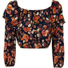 Black Layered Crop Top With Autumnal Floral Print (37 SGD) ❤ liked on Polyvore featuring tops, multi, floral top, crop top, double layer top, black long sleeve top and flower print crop top