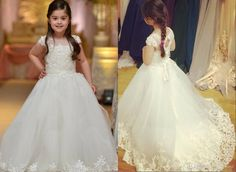 Find More Flower Girl Dresses Information about Flower Girl Dresses For Weddings With Capped Sheer Neck Appliques Lace Cupcake Pageant Dress Girls Long Beads Girls party Gowns,High Quality girls long white dresses,China girl dress size chart Suppliers, Cheap dress princess girl from Hh-Dress on Aliexpress.com