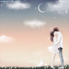 Animasi-Kartun-Korea-Romantis-Ciuman-Bawah-Bulan.gif (400×400) Anime Couples Manga, Cute Anime Couples, Kawaii Cute, Kawaii Anime, Emoji Love, Pretty Sky, Couple Illustration, Cute Anime Character, Pictures To Paint