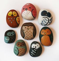 Painted owl rock. #crafts