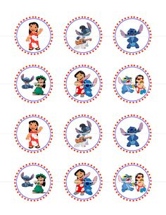Lilo and Stitch Cupcake Toppers Stickers DIY by CurlyPrints