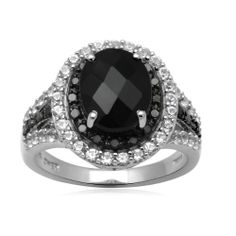 Sterling Silver Onyx with Created White Sapphire and Black Diamond Ring Amazon Curated Collection
