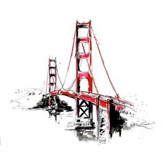 San Francisco Golden Gate Bridge Travel Print from Original Watercolor... (42 CAD) ❤ liked on Polyvore featuring home, home decor, wall art, backgrounds, doodles, fillers, drawings, illustrations, inspirational home decor and golden gate bridge wall art