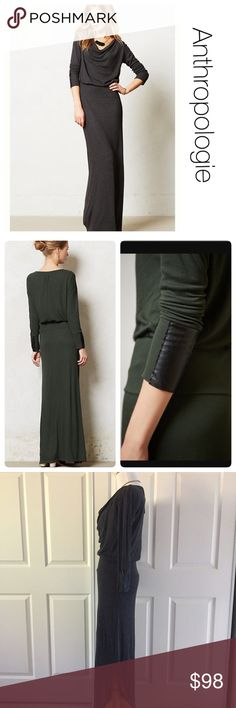 """NWT Anthropologie maxi dress by Bordeaux xs ♦️Color of this dress is grey. I used the dark green pics from Anthropologie to display the detail.Vegan leather is quickly becoming one of our go-to fabrics: It's animal- friendly, adds a little edge to any ensemble and looks as chic as the real deal. Here, it puts the finishing glam touch on the sleeves of Bordeaux's drapey maxi.  By Bordeaux Vegan leather cuffs Pullover styling Rayon, spandex, polyurethane Hand wash Regular: 57""""L Petite: 55""""L…"""