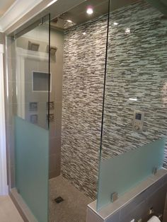 Contemporary Bathroom Frosted Shower Design, Pictures, Remodel, Decor and Ideas - page 3  Half frosted shower screen